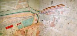 12 Jahre war die Strecke Aalen-Heidenheim eine Sackbahn: Ein Vertrag mit Bayern für eine Anbindung der Remsbahn an Nördlingen verhinderten den Weiterbau nach Ulm. Der Plan von 1862 mit Weiterführungen zeigt die Situation am Totenberg.